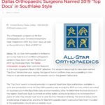 "Dallas Orthopaedic Surgeons Named 2019 ""Top Docs"" in Southlake Style"